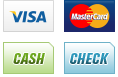 We accept Visa, MasterCard, Cash and Check.