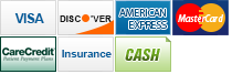 We accept Visa, Discover, American Express, MasterCard, CareCredit, Insurance and Cash.
