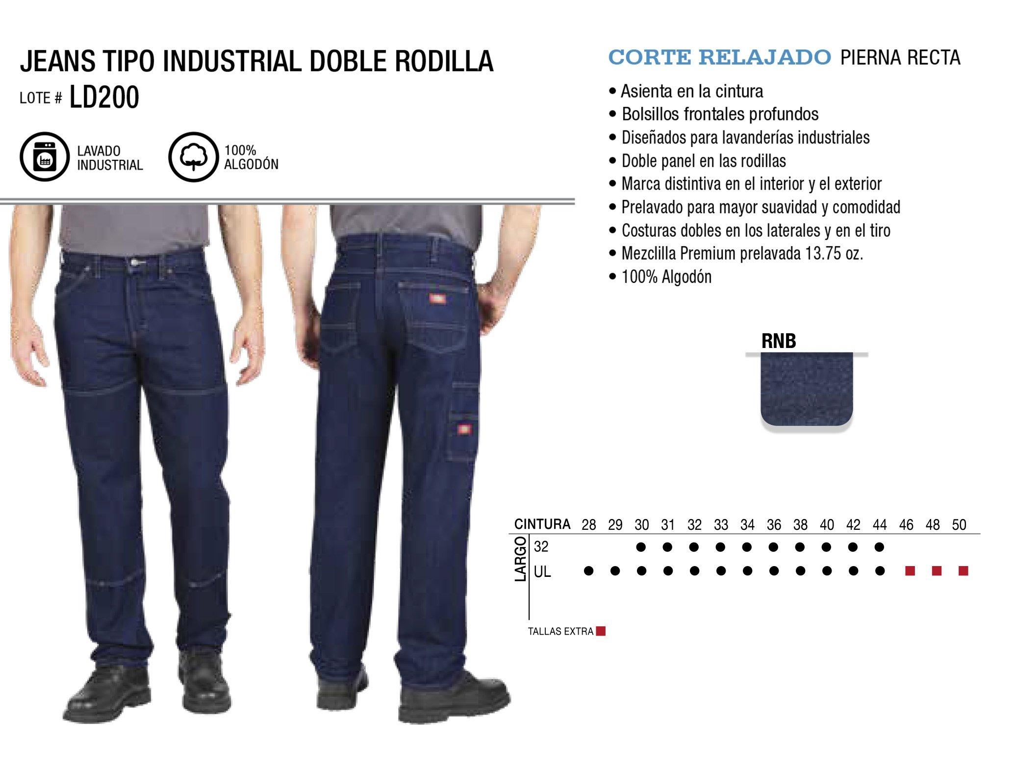Jeans Tipo Industrial Doble Rodilla. Corte Relajado. LD200.