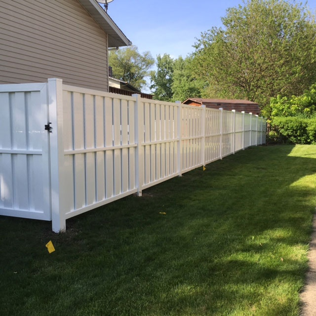 White PVC Semi-Privacy Fence