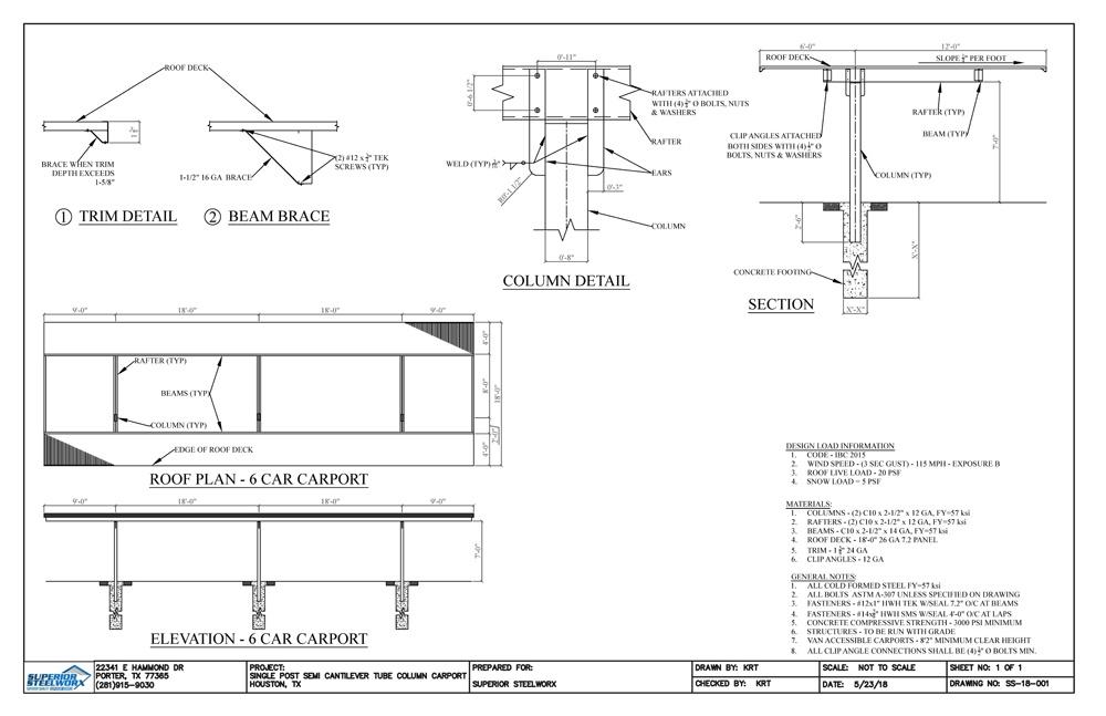 Single Post Semi Cantilever Tube Column