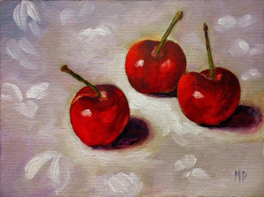 "Three Cherries ~ 5""x7"" Oil on Canvas Panel"