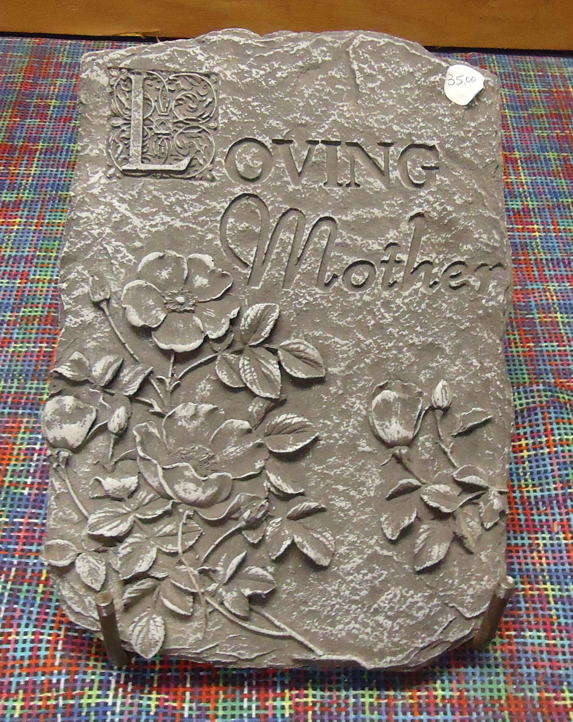 "(42)  ""Concrete"" Loving Mother Stone (On Ground Easel) $35.00"