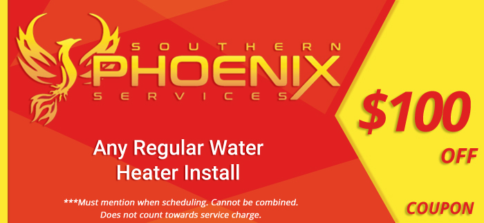 Coupon for $100 off any regular water heater install.