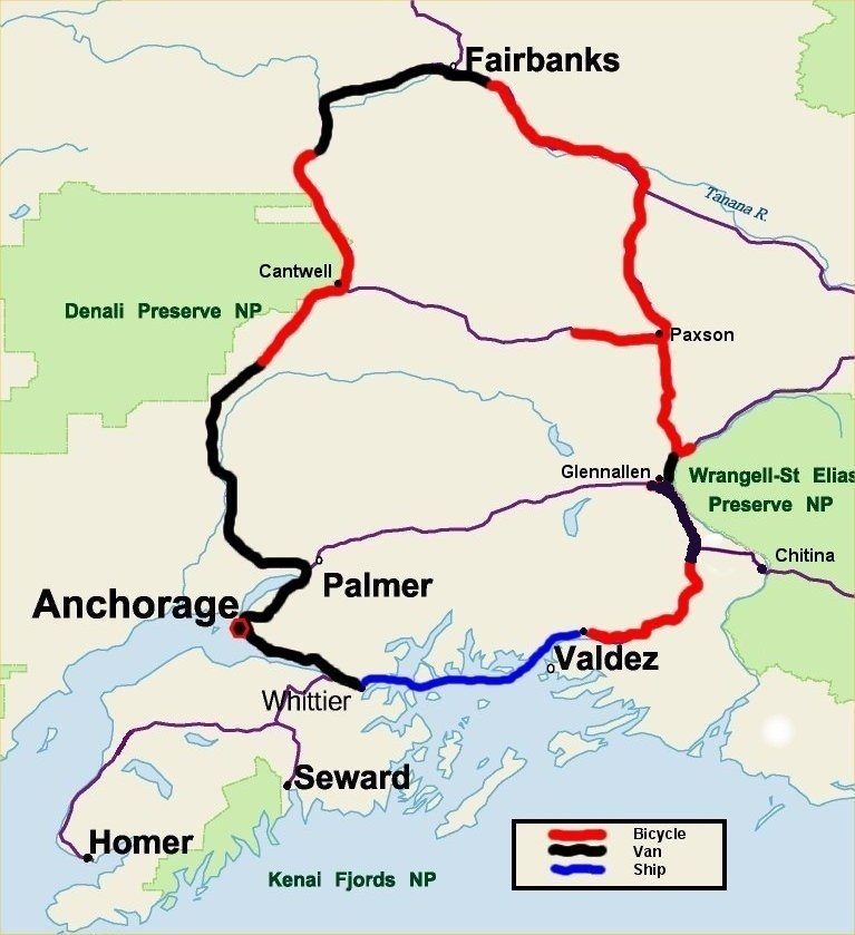 Bicycle Alaska Tour Map