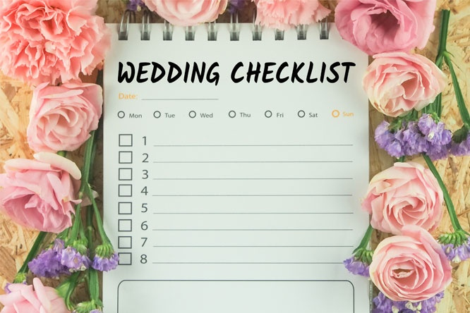 Word wedding checklist note paper on pink flower