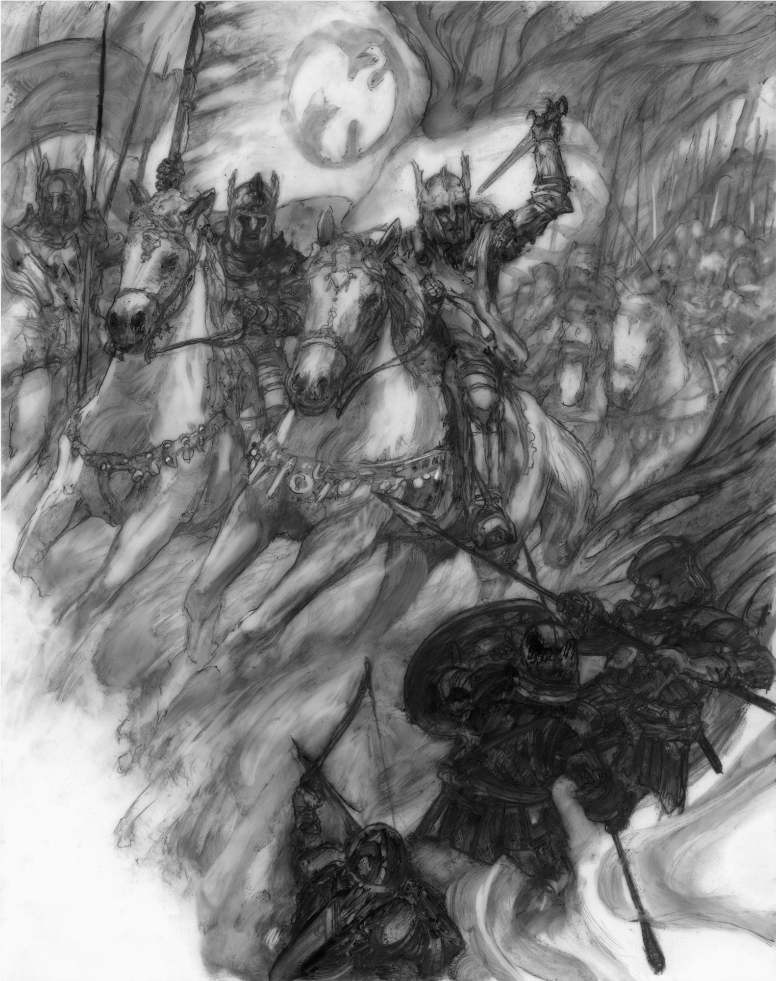 "Battle of Bestanag 14"" x 11"" Graphite on paper  2019 Interior illustration, one of twelve, for Jacqueline Carey's 'Elegy for Darkness' from Grim Oak Press"