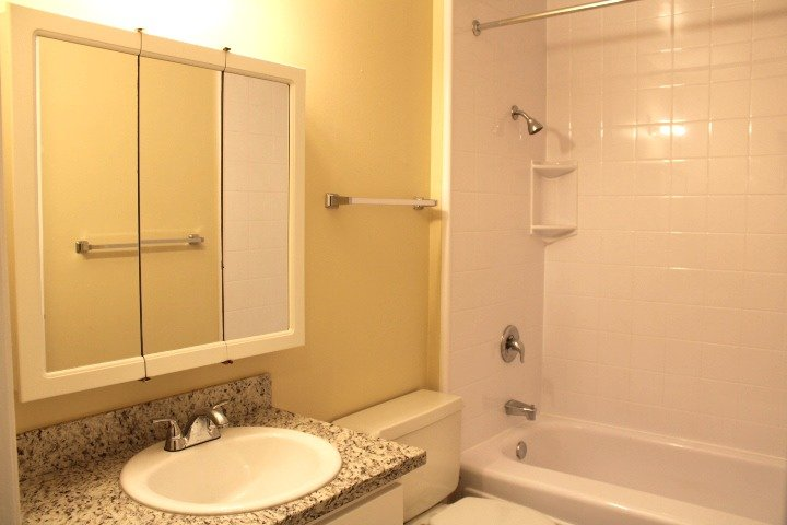The bathroom has a new granite countertop and new cabinet.  It  also has a Bath Fitter shower liner (less grout to clean!).