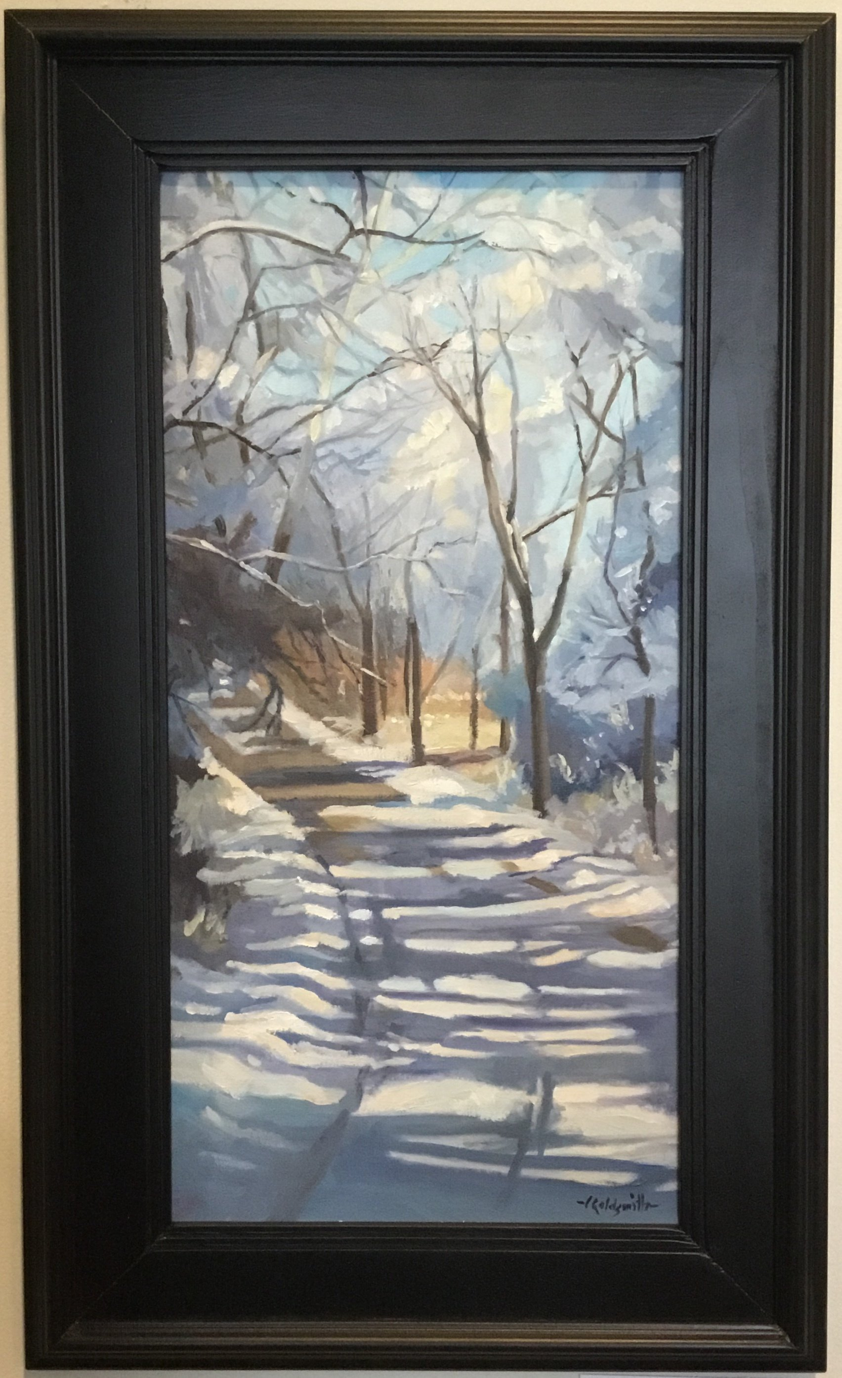 "Frozen Timberline Road Oil on linen panel 10"" X 20"" $650."