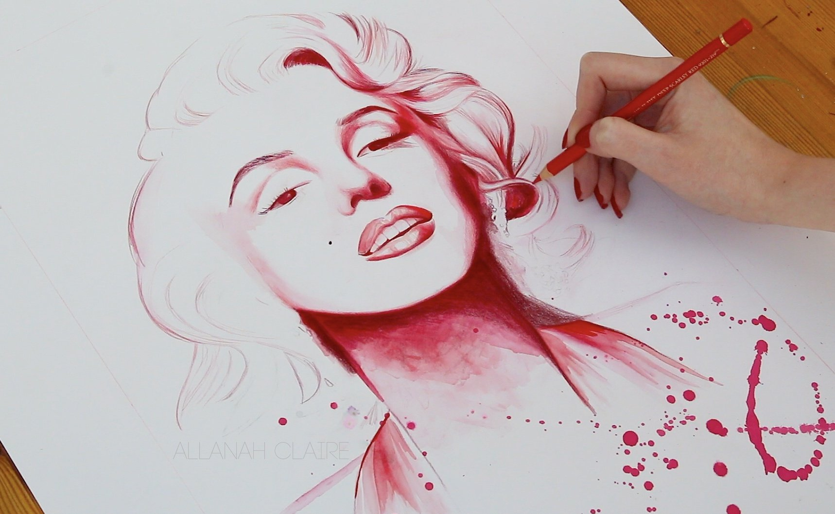 Marilyn in Red, work in progress.