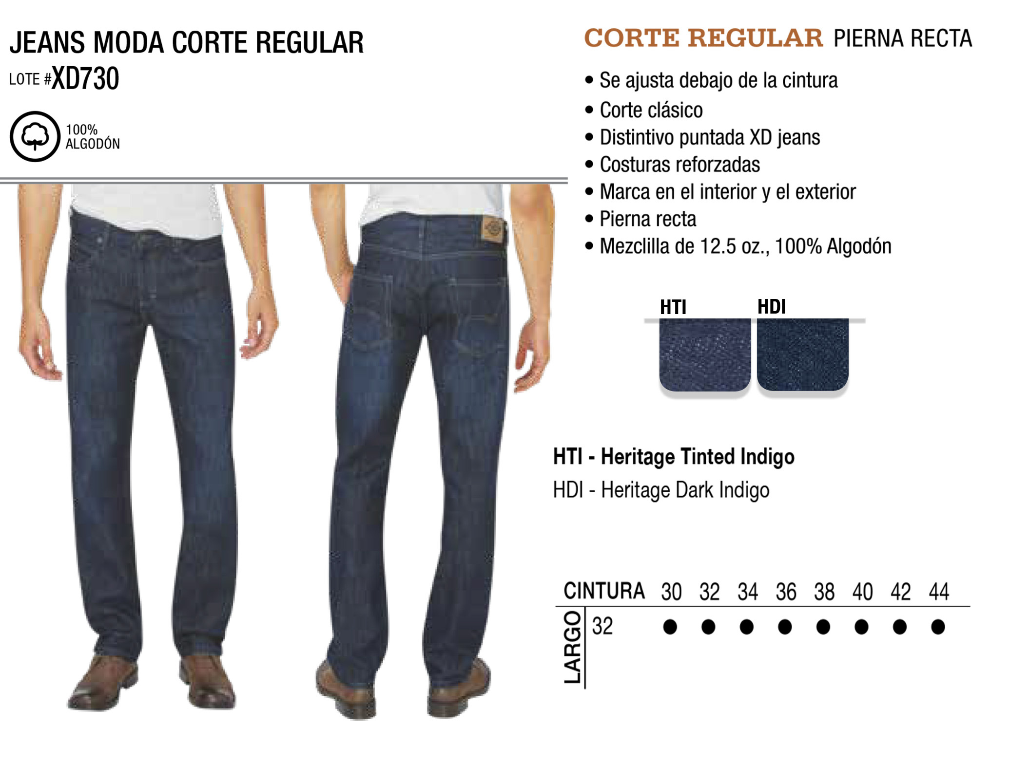 Jeans Moda Corte Regular. Corte Regular. XD730.