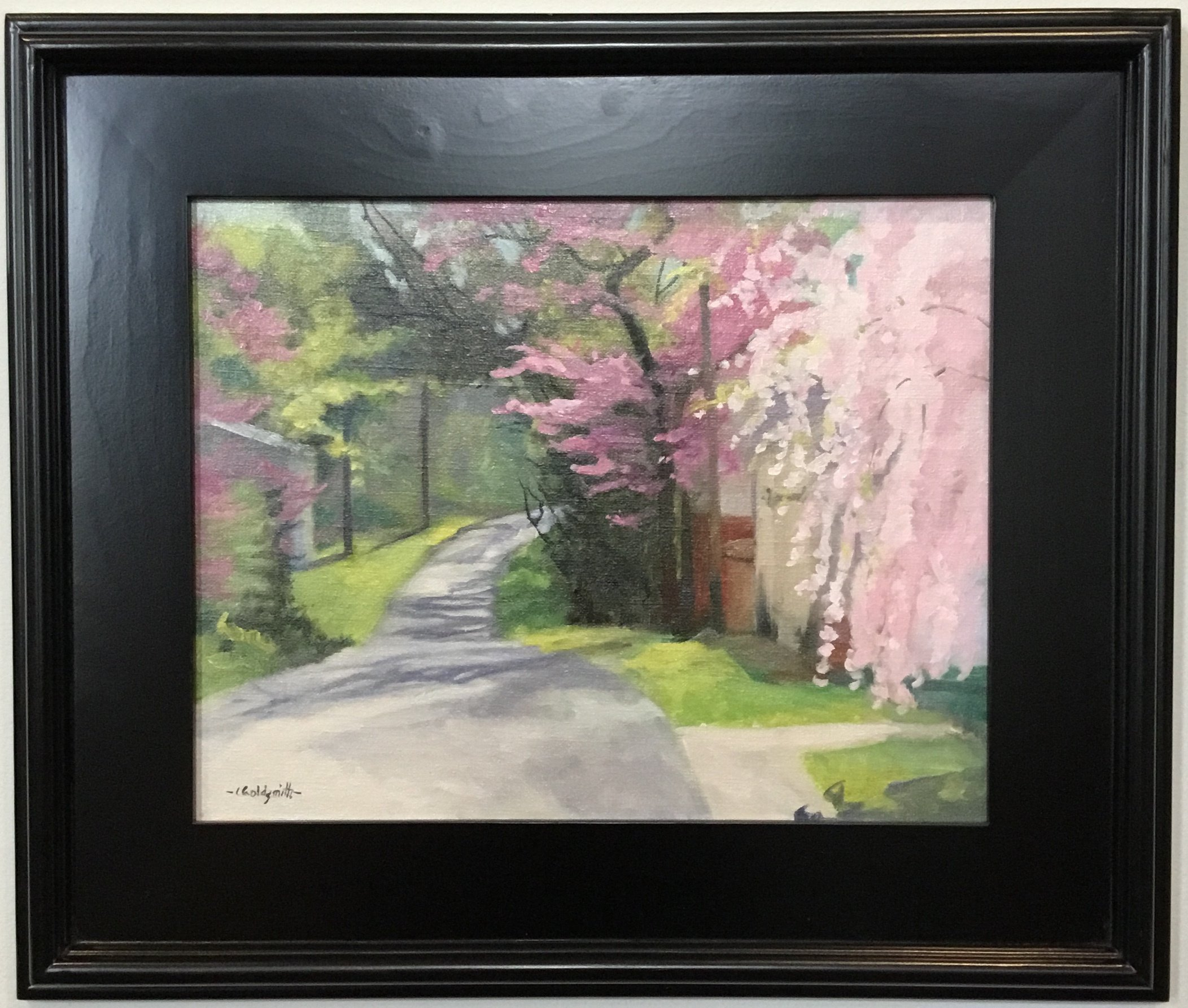 "Blossom Avenue OIl on linen panel  11"" X 14"" $450."