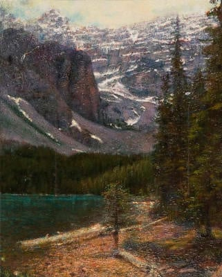 """Lake Louise 24"""" X 29"""" Oil and Oil pastel on Canvas $450"""