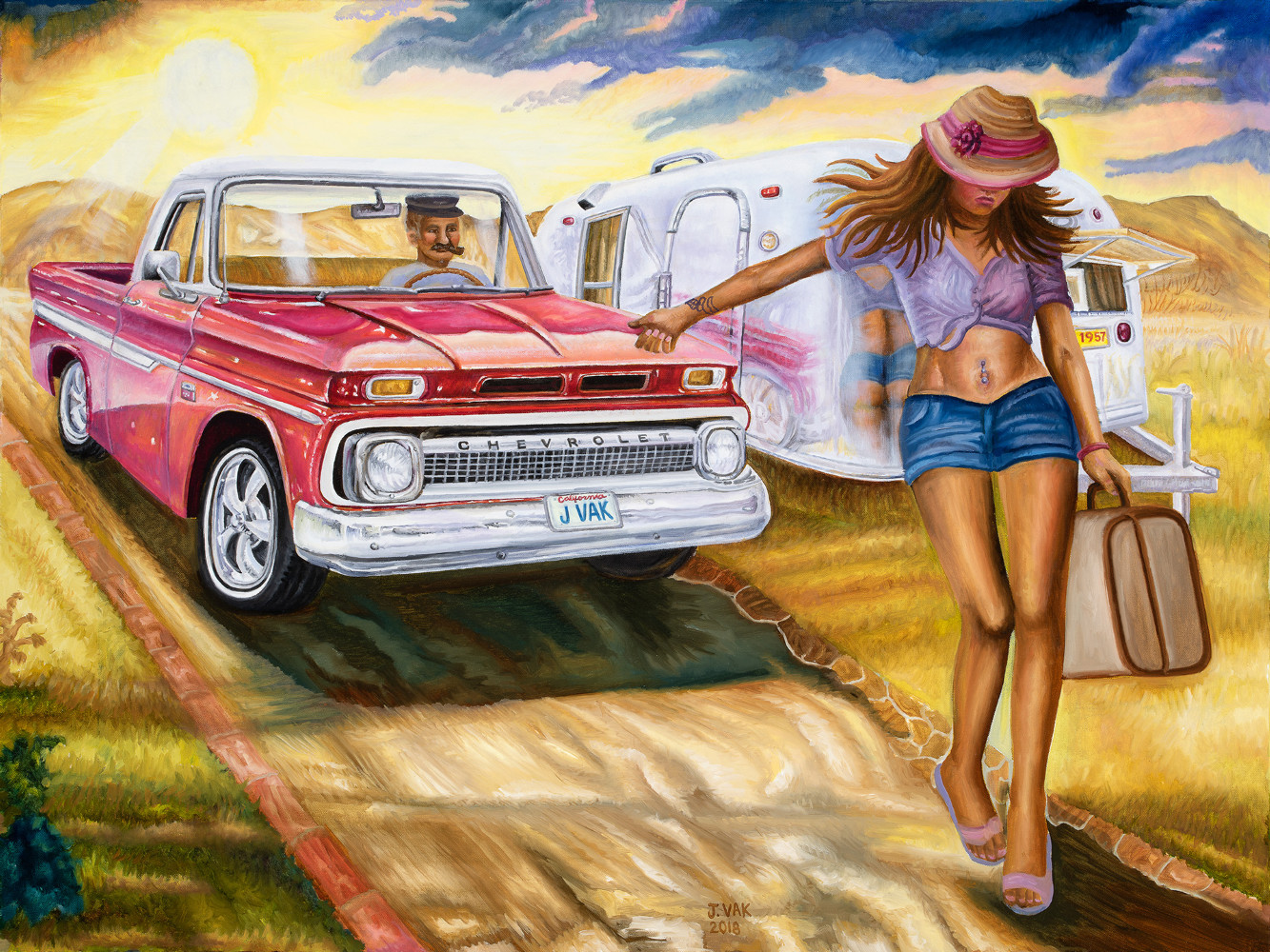 1966 Chevy Pickup with Hitchhiker       30 X 40 Oil on Canvas                  $2500                    2018