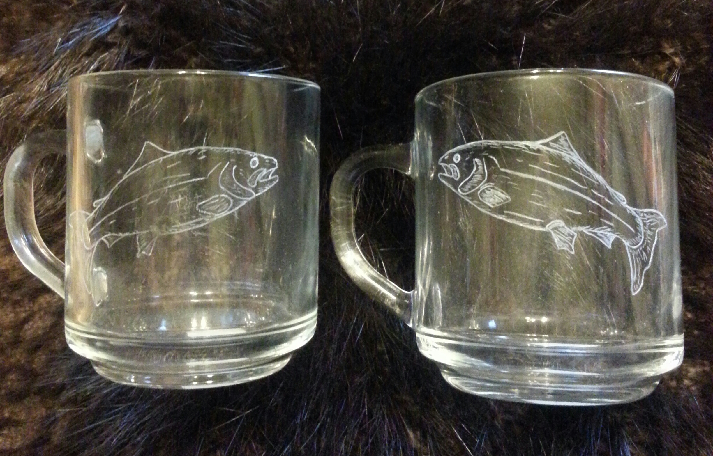 Salmon engraved coffee mugs... $30.00 ea or $50.00 for 2