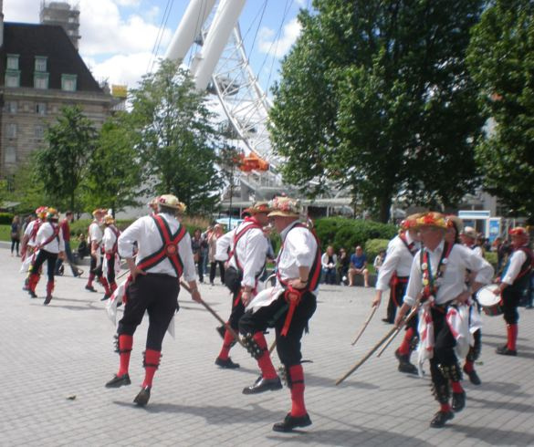 Two teams performing the sword dance at the London Eye
