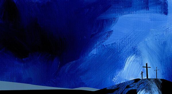 Calvary crosses blue