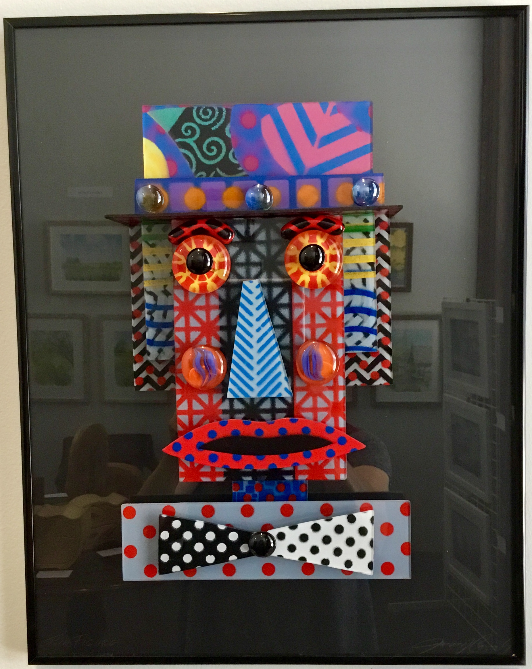 "Male Fun Face w/ Hat Glass Construction 14"" X 18"" $225."