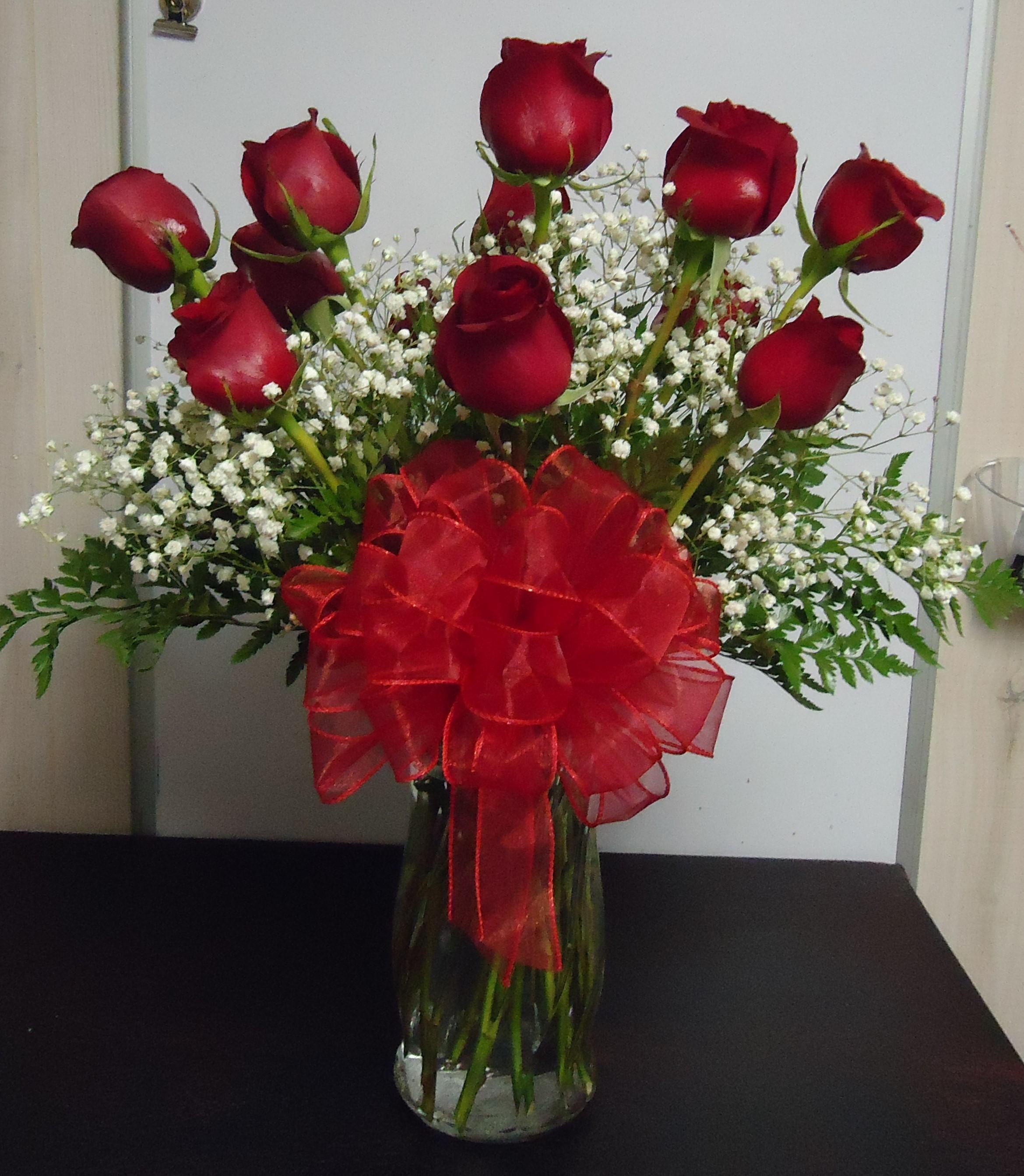 """(9)  """"Fresh"""" Dozen Red Roses $60.00"""
