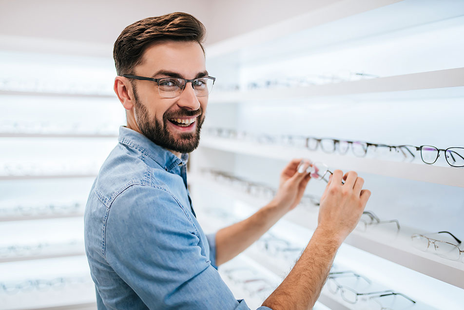 Smiling Man In Optical Store