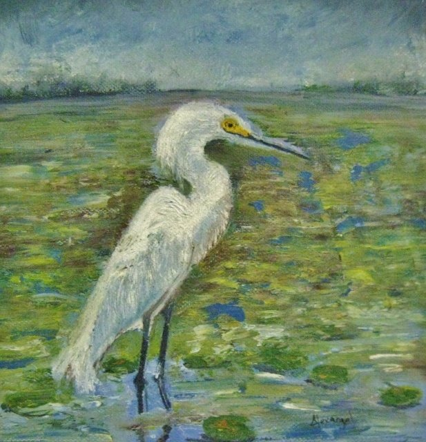 "Alexangel Estevez_Eastern Heron, 8"" x 8"" Oil"