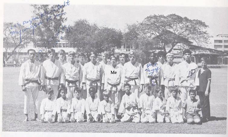 ISB Taekwondo club led by Mr. Kim Myung-Soo, 6th Dan. 1969.