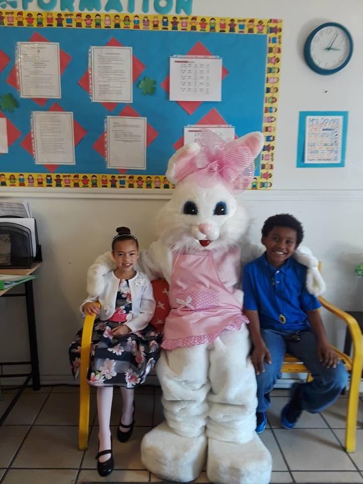 Kids With a Bunny Mascot