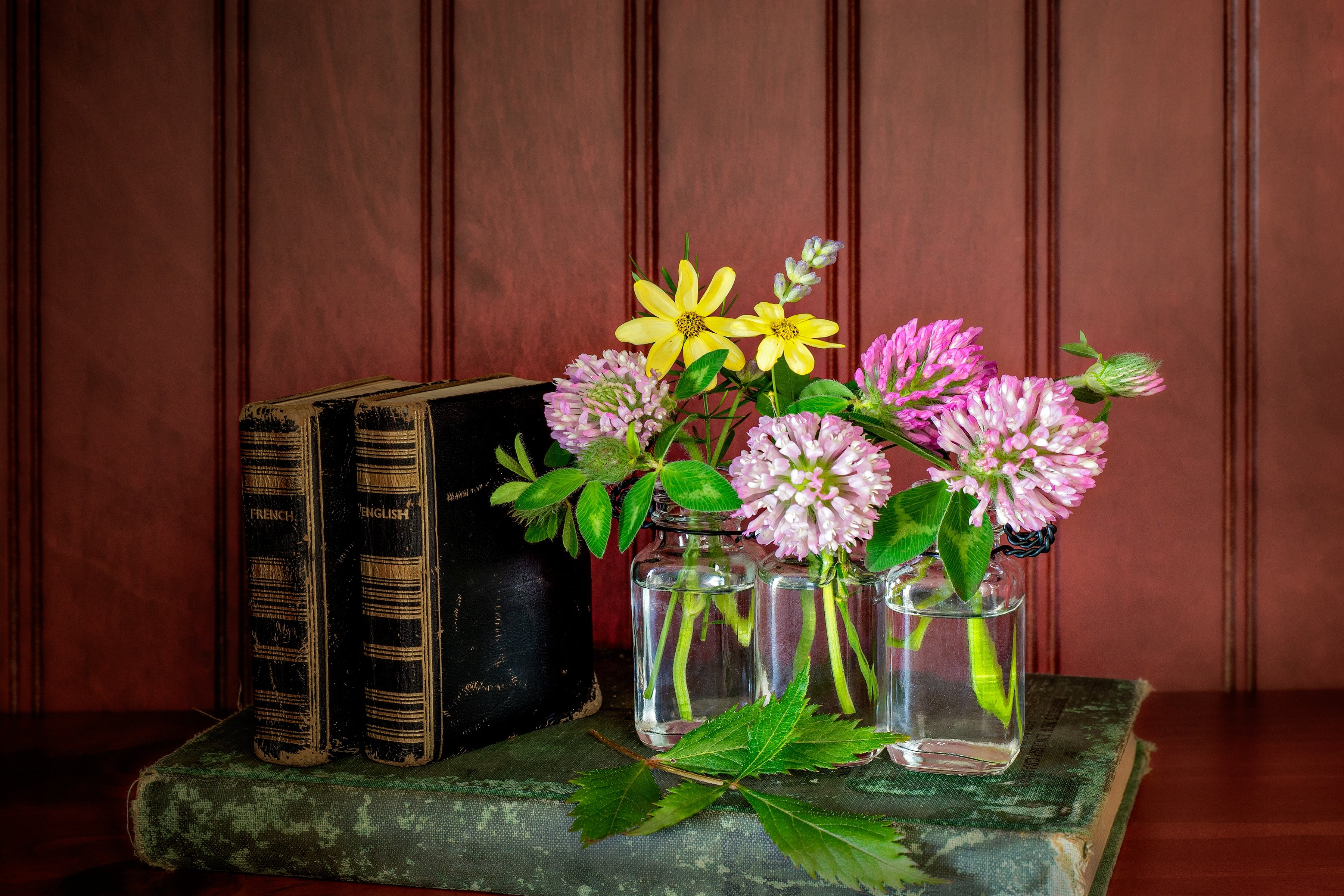 BOOKS AND BLOOMS - I thank my wife for this pleasant little arrangement of books and wild flowers.