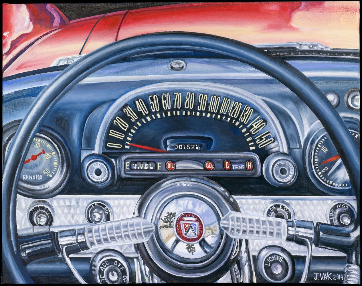 1957 Ford Thunderbird Interior           24x28 Original Oil                   $3500                    2014