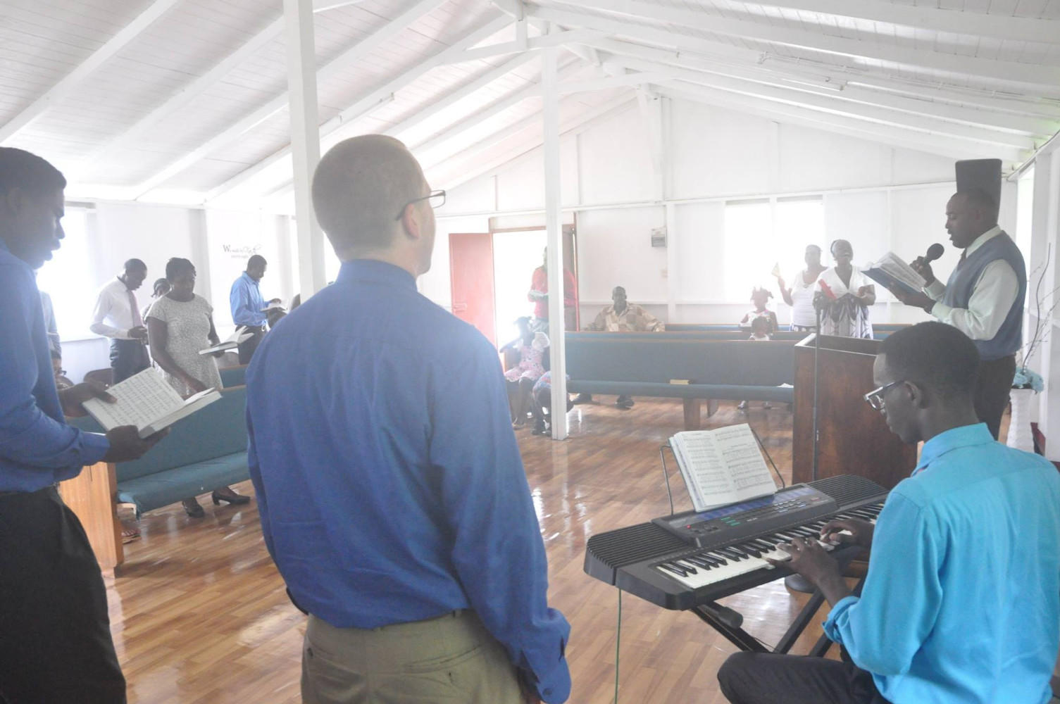 Church service with Bro. Steve leading music