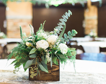 Box Centerpiece with Greenery