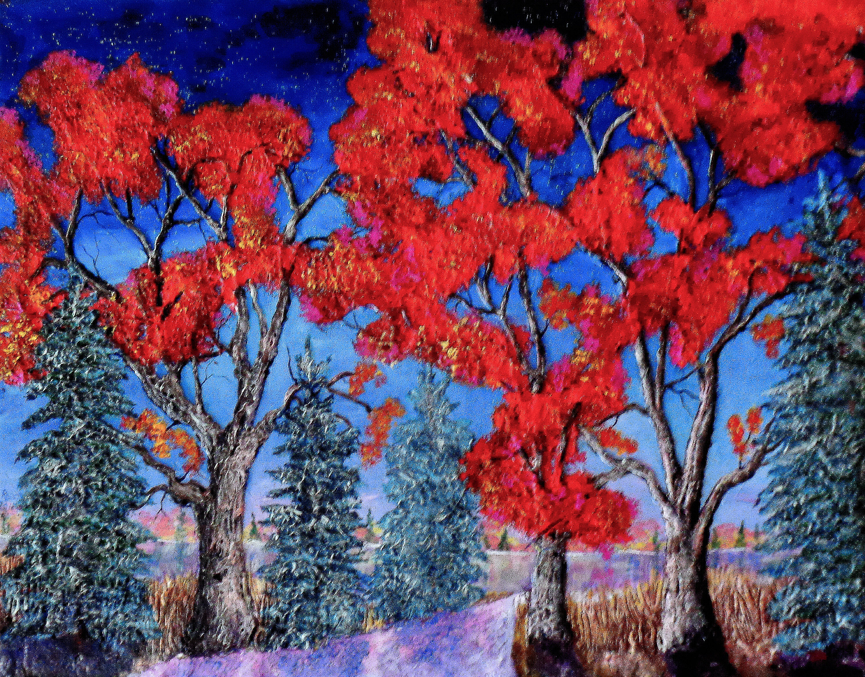 THE LAKE IN FALL   40x58 in.   $ 1000     HIGHLIGHTED  WITH GLOW IN  DARK  LUMINESCENT  PAINT