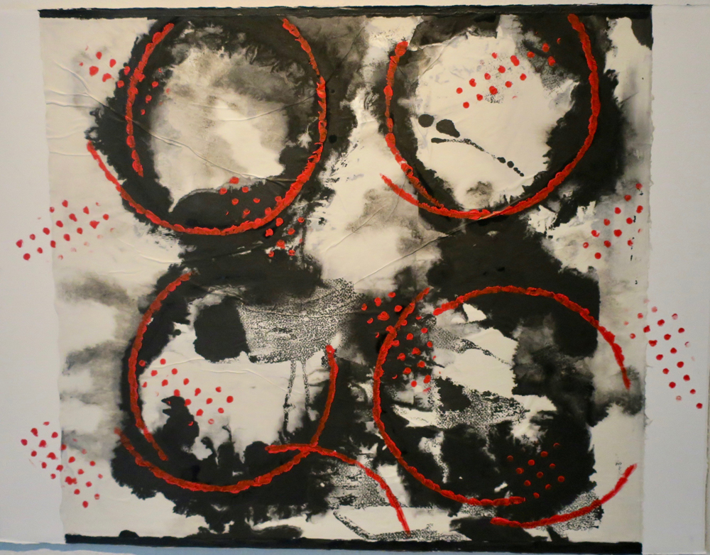 four black circles 30  x 22