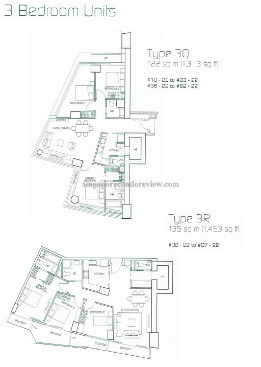 floor plan for stack 22, 3bedrm 1,300 - 1,450 sqft