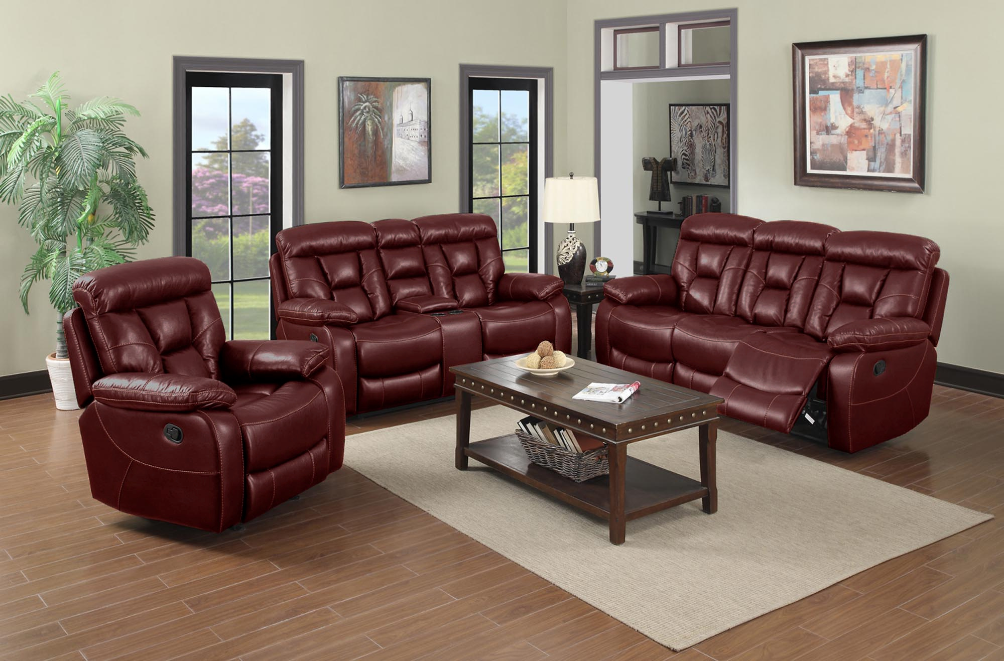 Red Faux Leather Reclining Living Room Set