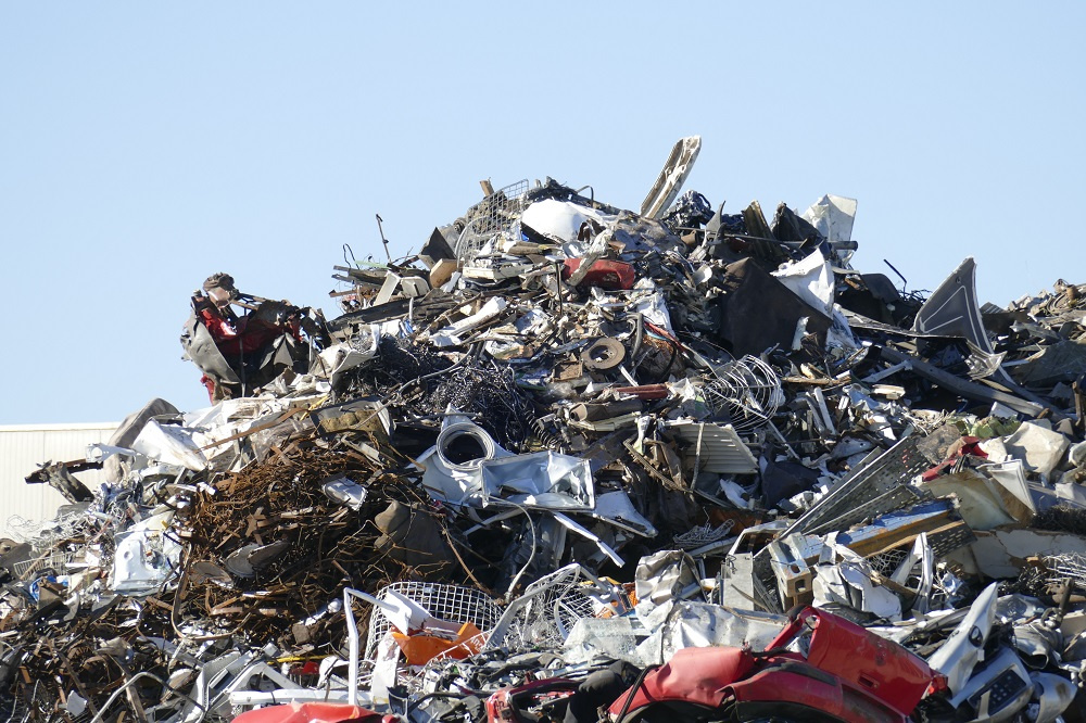 Salvaged Metal Car Parts in a Huge Pile