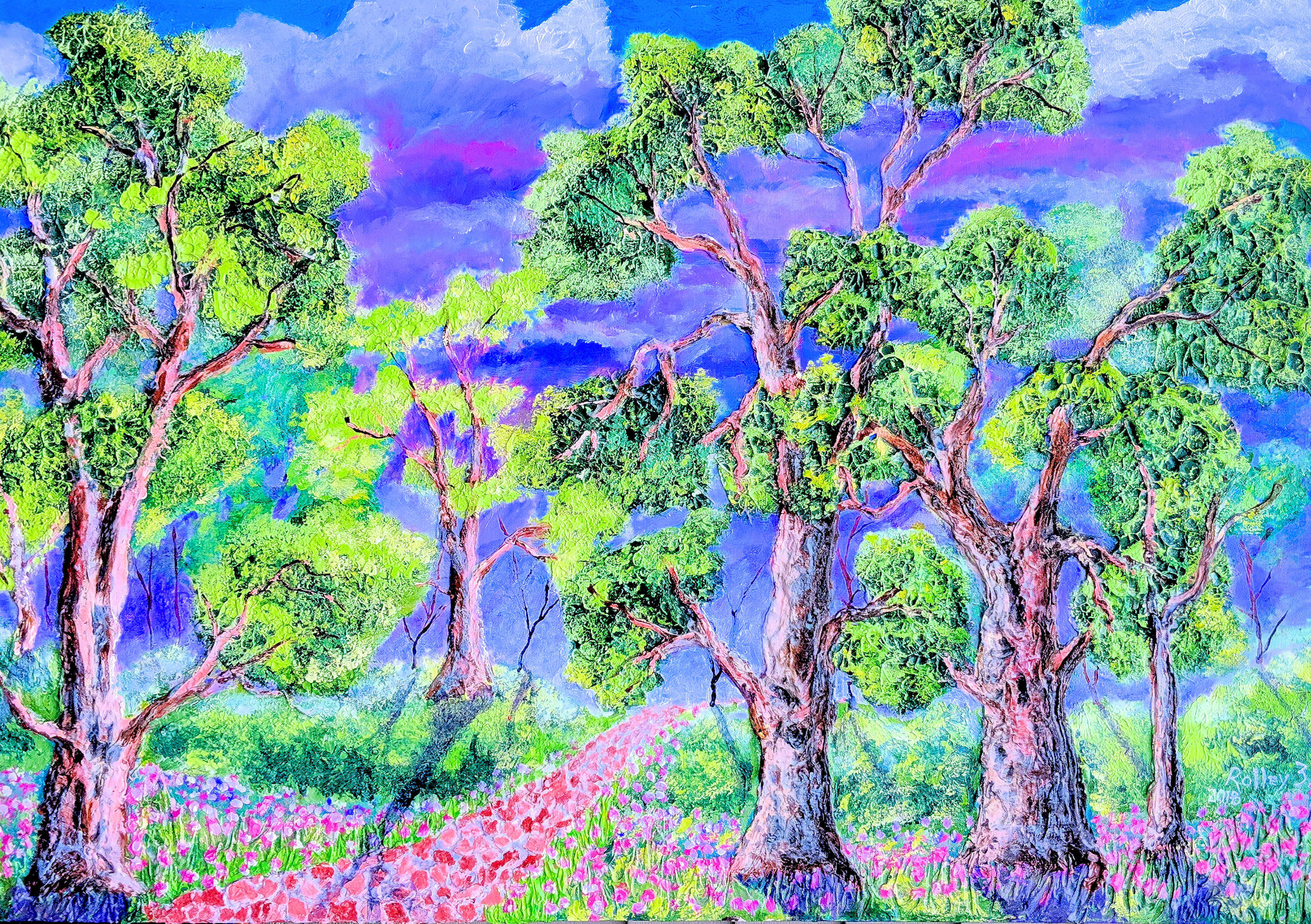 SOFTER WALK   30X40   $800   HIGHLIGHTED WITH GLOW IN DARK LUMINESCENT PAINT