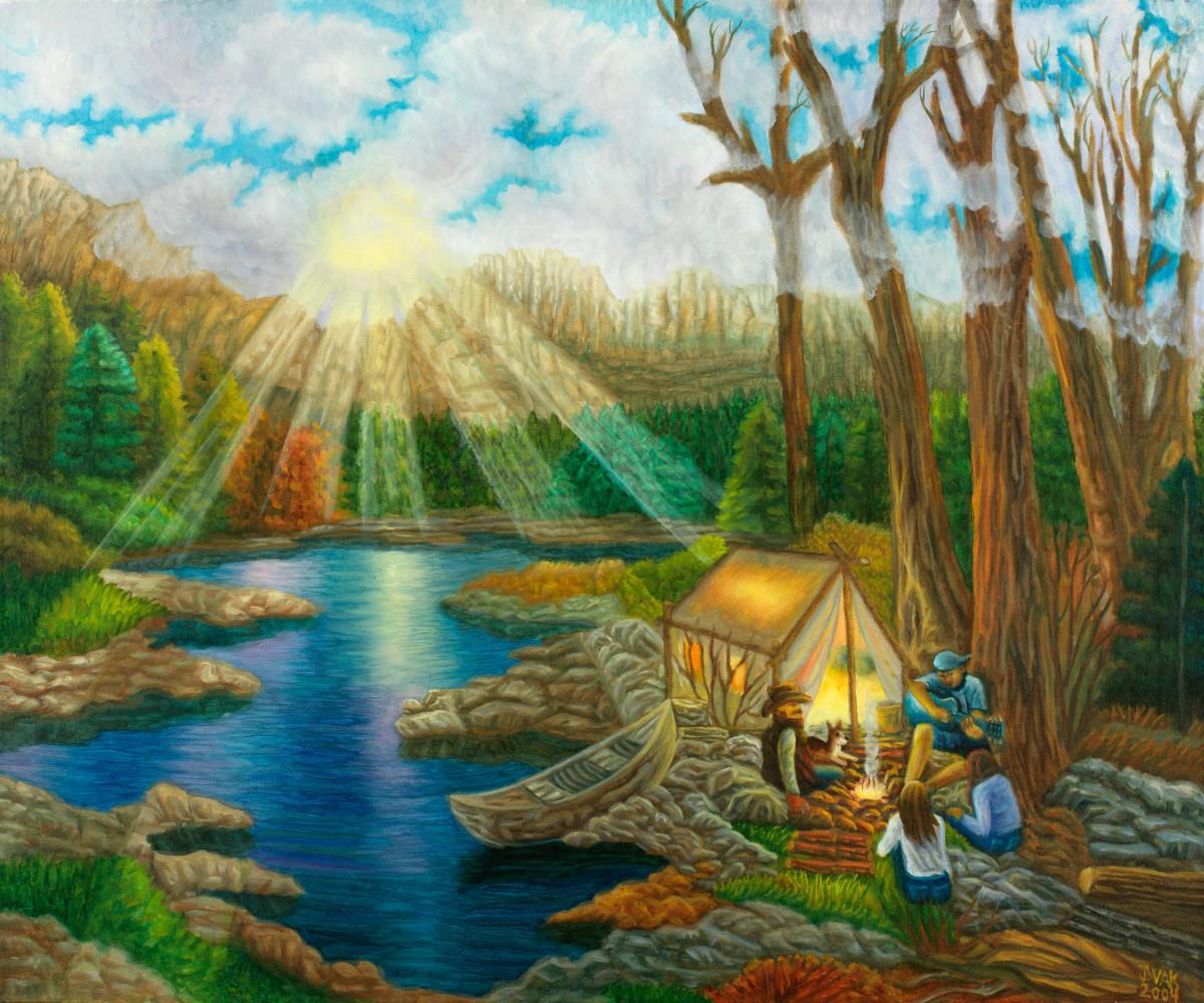 Creekside Campfire 30x36 Original Oil $3850 2005