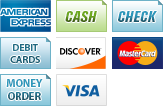 We accept American Express, Cash, Checks, Debit Cards, Discover, MasterCard, Money Order and Visa.||||