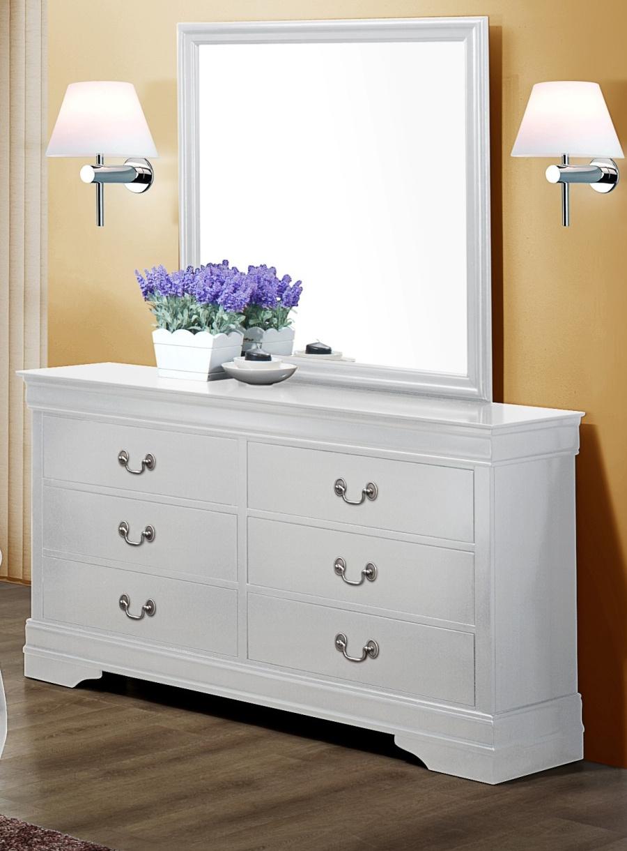 Louis Philip White Dresser and Mirror B3650-1-11
