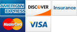 We accept American Express, Discover, Insurance, Visa and MasterCard.