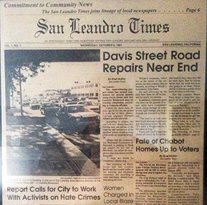 The first issue of the San Leandro Times was published on Thursday, October 9, 1991.
