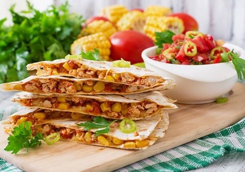 Mexican Quesadilla Wrap with Chicken, Corn & Sweet Pepper & Salsa