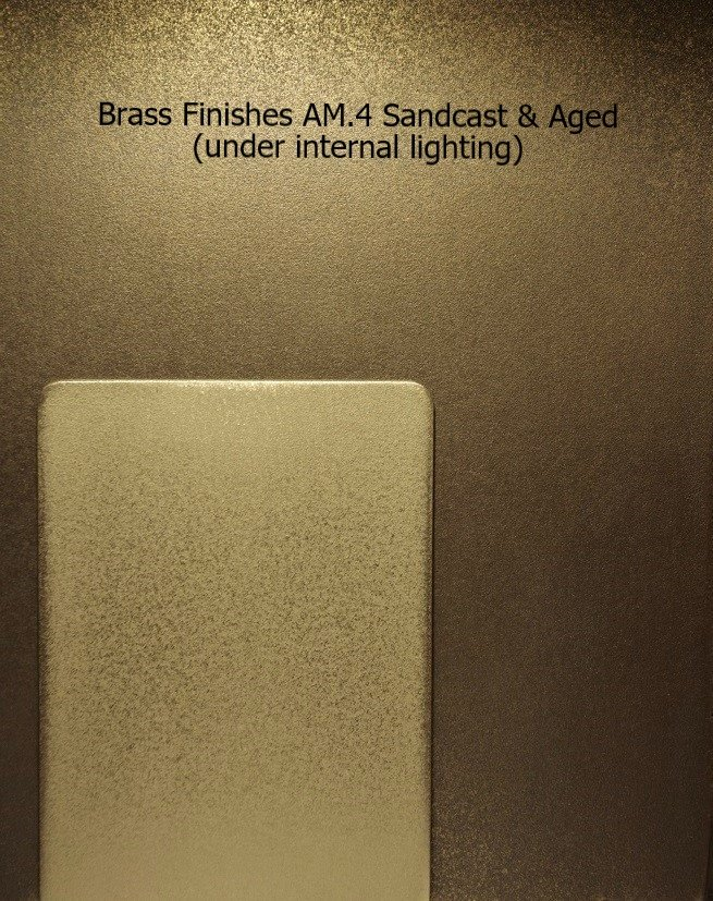 Brass Finish veneer Coating AM.4 Luxury architectural finishes under internal lighting.