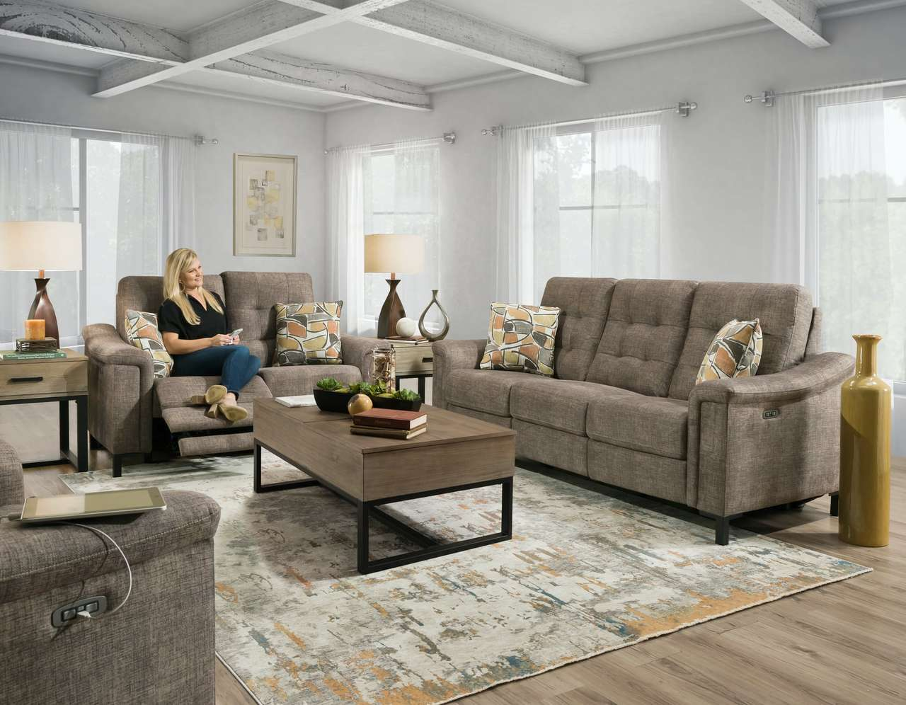 28501 Power Reclining Sofa and Loveseat