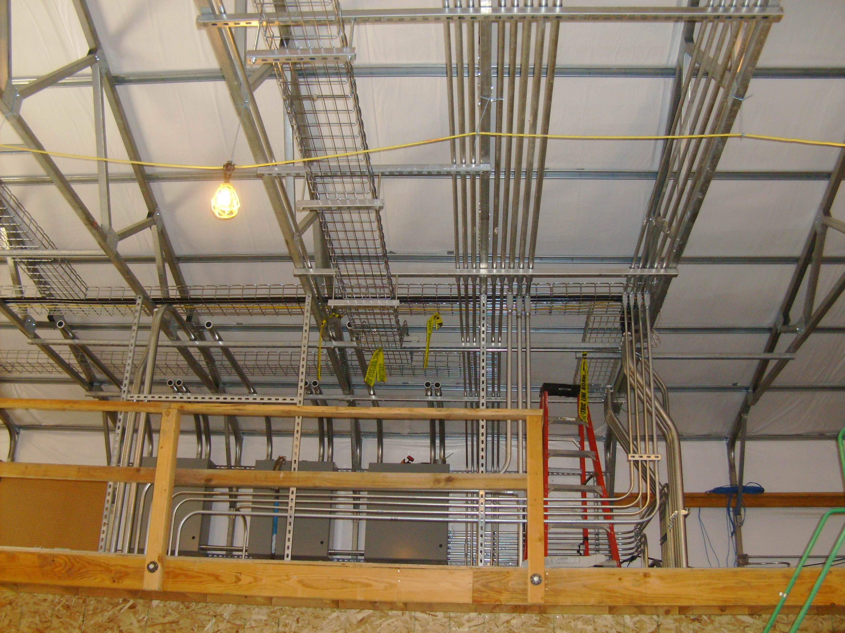 overhead conduit runs at Cypress Grove Chevre