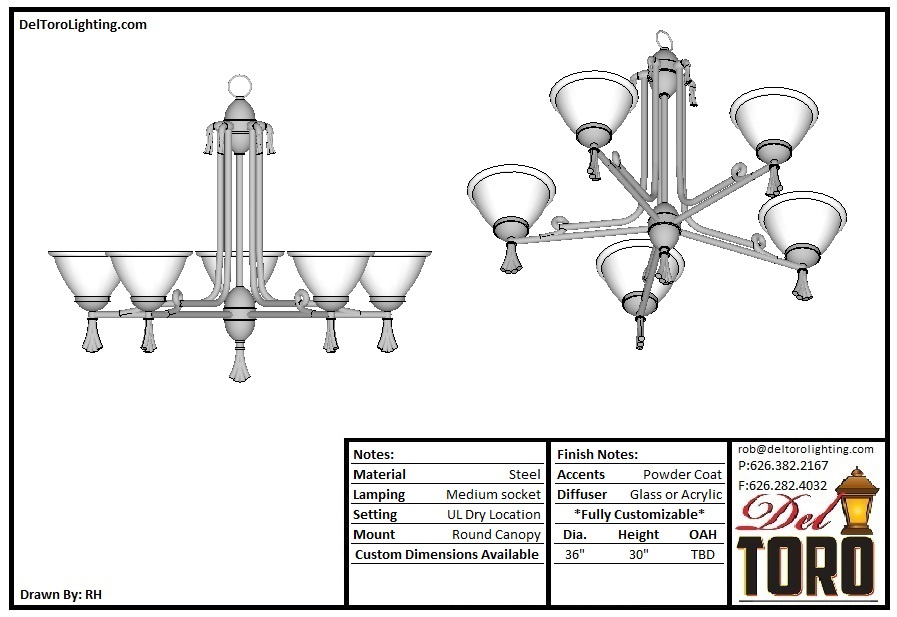435P-Decorative 5 Dish Chandelier