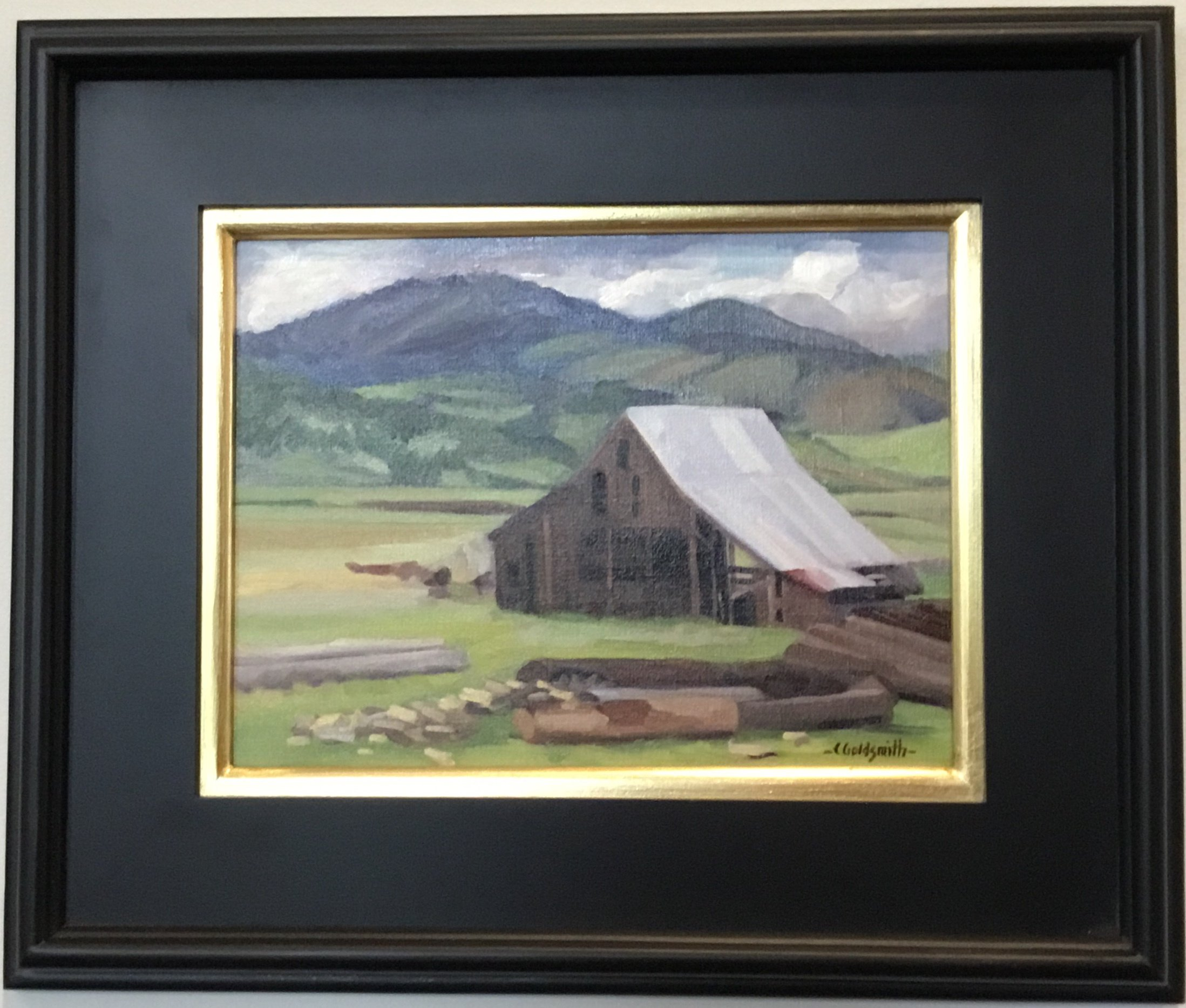 "Barn by the Dog Mill at Yreka Oil on linen panel 9"" X 12"" $350."