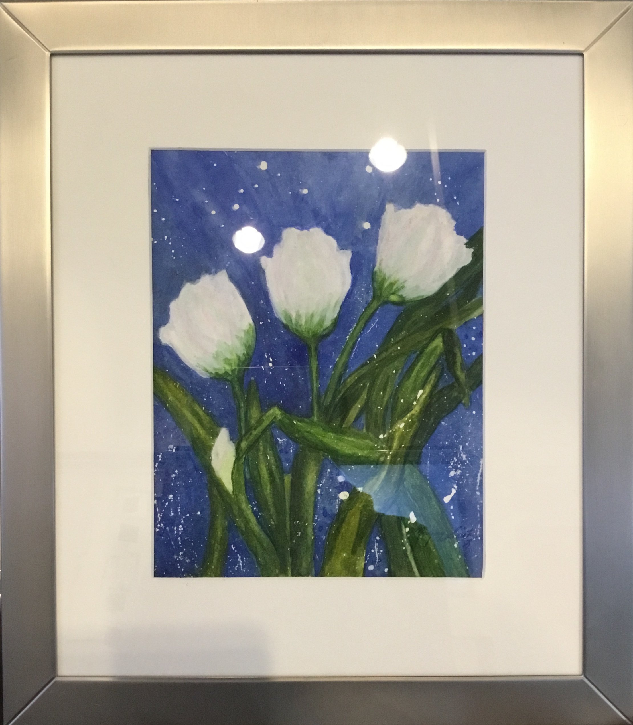 "Tulips in Air Watercolor 8"" X 10"" $175."