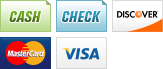 We accept Cash, Checks, Discover, MasterCard and Visa.||||
